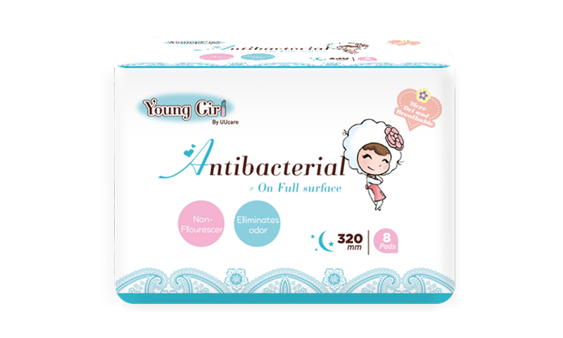 Young Girl Antibacterial Washable Pad 320mm 8pcs