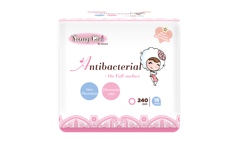 Young Girl Antibacterial Washable Pad 240mm 16pcs